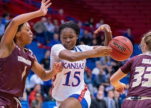 Despite sloppy first half, KU women's basketball defeats Texas State 68-48