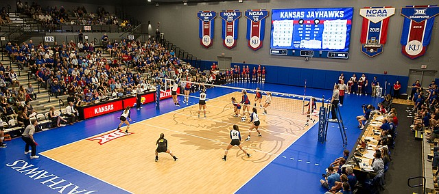KU volleyball plays its first match in the newly renovated Horejsi Family Volleyball Arena against Morehead State Thursday, Sept. 12.