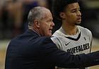 Colorado Buffaloes head coach Tad Boyle () confers with Colorado Buffaloes guard Daylen Kountz (2) in the second half of an NCAA college basketball game Monday, Nov. 18, 2019, in Boulder, Colo. Colorado won 69-53.