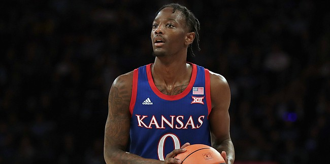 Kansas guard Marcus Garrett (0) in action against the Duke during the first half of an NCAA college basketball game Tuesday, Nov. 5, 2019, in New York. (AP Photo/Adam Hunger)