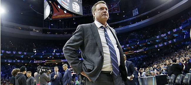 Kansas head coach Bill Self walks off the court after losing an NCAA college basketball game against Villanova, Saturday, Dec. 21, 2019, in Philadelphia. Villanova won 56-55. (AP Photo/Matt Slocum)