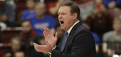 Kansas head coach Bill Self yells during the first half of an NCAA college basketball game against Stanford in Stanford, Calif., Sunday, Dec. 29, 2019. (AP Photo/Jeff Chiu)
