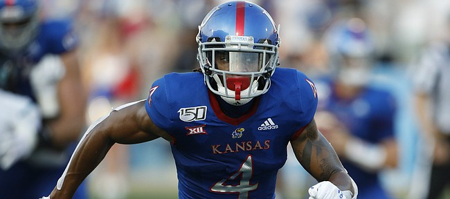 Kansas wide receiver Andrew Parchment during an NCAA football game against Coastal Carolina on Saturday, Sept. 7, 2019 in Lawrence, Kan. (AP Photo/Colin E. Braley)