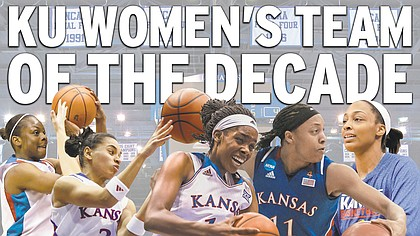 The Kansas men's basketball team of the decade. The starting five, from left: Danielle McCray, Angel Goodrich, Chelsea Gardner, Aisha Sutherland, Carolyn Davis.