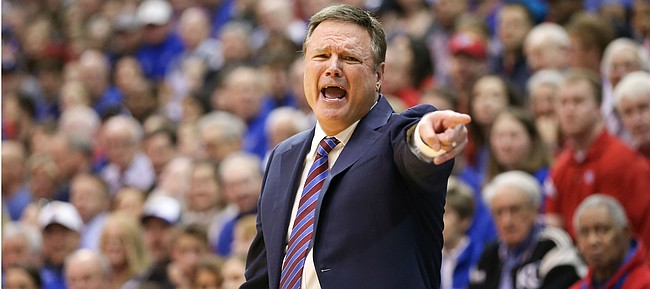 Kansas head coach Bill Self gets the attention of his players late during the second half, Saturday, Jan. 4, 2020 at Allen Fieldhouse.