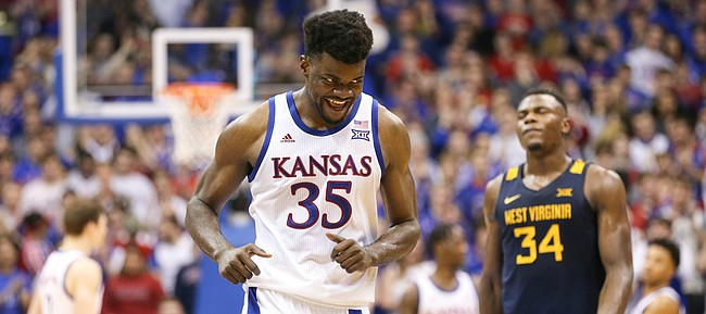 Kansas center Udoka Azubuike (35) flashes a smile as the Jayhawks secure the win over West Virginia, Saturday, Jan. 4, 2020 at Allen Fieldhouse.