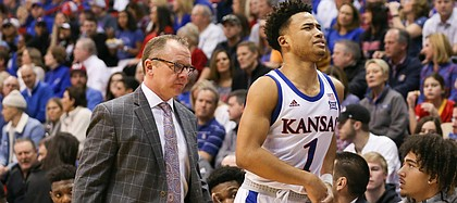 Kansas Jayhawks guard Devon Dotson (1) leaves the game with an injury early in the second half on Saturday, Jan. 11, 2020 at Allen Fieldhouse. Dotson later returned to the game.