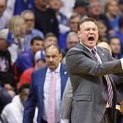 Kansas head coach Bill Self yells across the court at an official after a foul called against the Jayhawks during the first half, Saturday, Feb. 1, 2020 at Allen Fieldhouse.