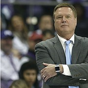 Kansas head coach Bill Self watches his team play against TCU during the second half of an NCAA college basketball game, Saturday, Feb. 8, 2020, in Fort Worth, Texas. Kansas won 60-46. (AP Photo/Ron Jenkins)