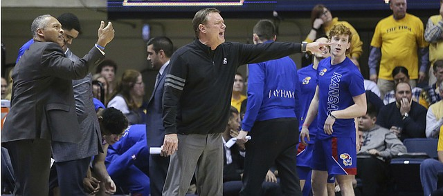 Kansas coach Bill Self reacts to a call during the second half of the team's NCAA college basketball game against West Virginia on Wednesday, Feb. 12, 2020, in Morgantown, W.Va. (AP Photo/Kathleen Batten)