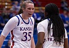 KU junior center Bailey Helgren (35) celebrates her teammate freshman guard Zakiyah Franklin's (15) bucket. KU defeated Indiana State 84-72 on Thursday, Nov. 7.