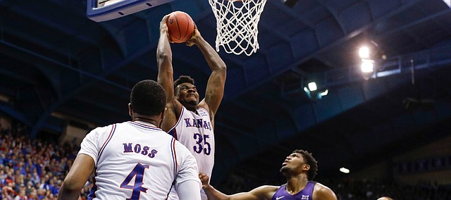 Kansas center Udoka Azubuike (35) comes in for a dunk against TCU during the second half, Wednesday, March 5, 2020 at Allen Fieldhouse.
