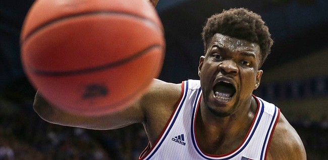 Kansas center Udoka Azubuike (35) chases down a ball during the second half, Wednesday, March 5, 2020 at Allen Fieldhouse.