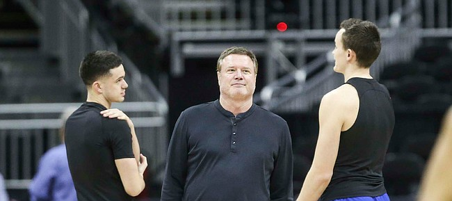 Kansas head coach Bill Self watches over his team's shoot around on Wednesday, March 11, 2020 at Sprint Center. On Wednesday afternoon, the NCAA announced that upcoming basketball tournaments would be played without fans because of concerns about the spread of the coronavirus.