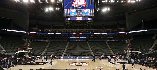 Kansas players practice on Wednesday, March 11, 2020 at Sprint Center. On Wednesday afternoon, the NCAA announced that upcoming basketball tournaments would be played without fans because of concerns about the spread of the coronavirus.