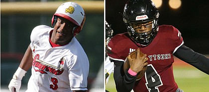Lawrence High's two-sport standout Devin Neal rounds the base during a baseball game (left) and runs down the sideline (right) during a football game. Neal announced his commitment to play both sports at the University of Kansas via his personal Twitter account on Friday, March 20, 2020.