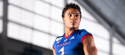 Kansas safety Bryce Torneden is pictured during KU football Media Day on Friday, Aug. 16, 2019 at the indoor practice facility.