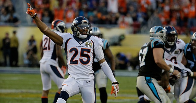 Denver Broncos' cornerback Chris Harris Jr. (25) reacts after the Broncos recovered a fumble by the Carolina Panthers during the first half of the NFL Super Bowl 50 football game Sunday, Feb. 7, 2016, in Santa Clara, Calif.