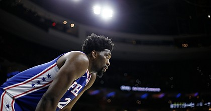 Philadelphia 76ers' Joel Embiid plays during an NBA basketball game against the Atlanta Hawks, Monday, Feb. 24, 2020, in Philadelphia.