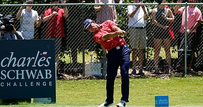 Gary Woodland tees off on the second hole during the final round of the Charles Schwab Challenge golf tournament at the Colonial Country Club in Fort Worth, Texas, Sunday, June 14, 2020.
