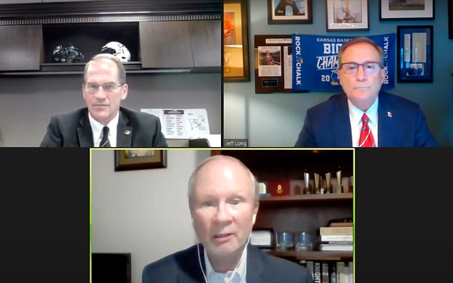 "KU Athletic Director Jeff Long, top right, and Missouri AD Jim Sterk, top left, joined moderator Steve Weiberg on Tuesday, June 16, 2020, for an online discussion called ""College Sports in the COVID-19 Era,"" sponsored by the Kansas City Public Library."
