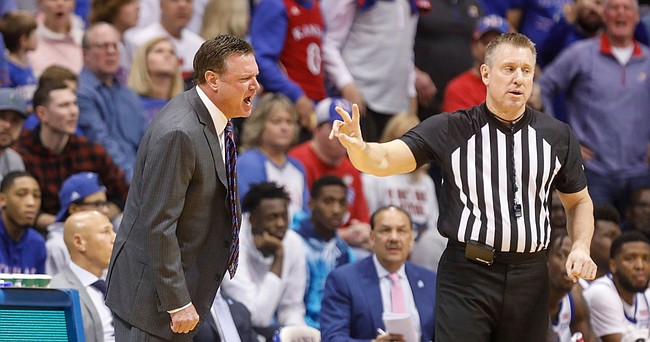 Kansas head coach Bill Self rips into a game official for a foul called against The Jayhawks during the first half, Saturday, Feb. 1, 2020 at Allen Fieldhouse.