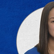 Kansas freshman Caroline Crawford, a middle blocker from Lansing High, was named the Big 12 Conference's pick for preseason freshman of the year on Monday, June 29, 2020.