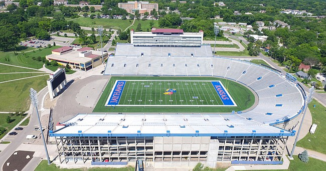 An aerial shot from the east of David Booth Kansas Memorial Stadium in 2017.