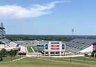 The view of David Booth Kansas Memorial Stadium from the top of Campanile hill in July 2020.