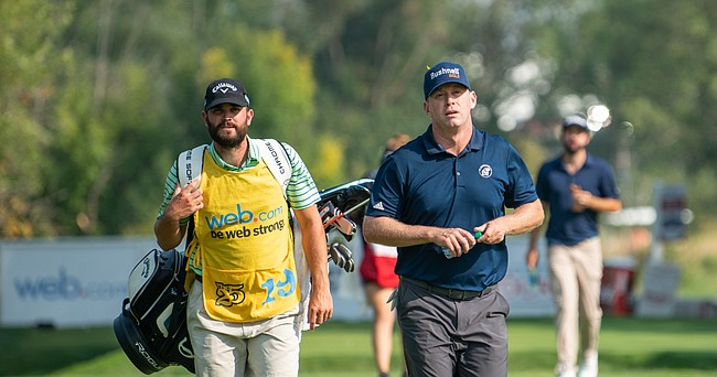 Former KU golfer Chris Thompson, shown here during the final round of the WinCo Foods Portland Open on Aug. 19, 2018, is back in the qualifying stages of his pro career. Thompson on Monday qualified for this week's Price Cutter Charity Championship at Highland Springs Country Club in Springfield, Mo.