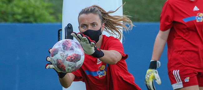 Kansas soccer goalkeeper Sarah Peters grabs for the ball during a preseason practice on Aug. 5, 2020.