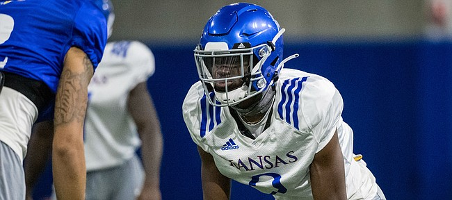 True freshman corner Karon Prunty lines up against a receiver during KU's fall camp ahead of the 2020 season. Prunty was listed as a starting cornerback in the Jayhawks' initial depth chart for the season opener against Coastal Carolina.