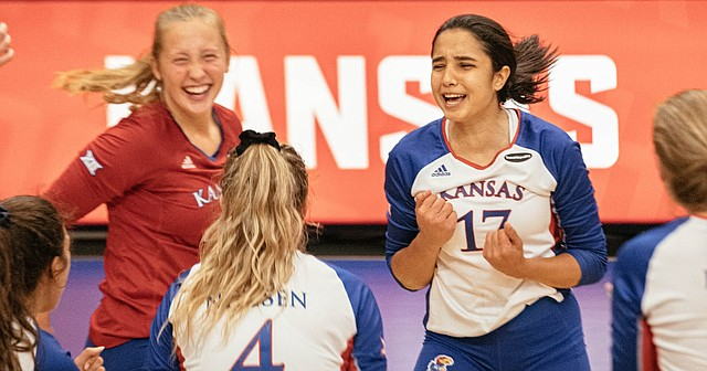KU freshman Ayah Elnady (17) celebrates a point with her teammates during the Jayhawks' season-opening, five-set victory over Baylor on Friday, Sept. 25, 2020 at Horejsi Family Volleyball Arena.