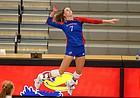 KU senior Jenny Mosser prepares to swing during the Jayhawks' home match against Baylor on Saturday, Sept. 26, 2020 at Horejsi Family Volleyball Arena.