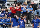 KU fans celebrate a play by the Jayhawks during Saturday's 47-7 loss to Oklahoma State at David Booth Kansas Memorial Stadium on Oct. 3, 2020.
