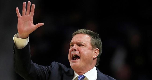 Kansas head coach Bill Self calls a play during the first half of an NCAA college basketball game against Kansas State in Manhattan, Kan., Saturday, Feb. 29, 2020. (AP Photo/Orlin Wagner)