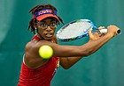 KU junior Malkia Ngounoue competes during the ITA Central Regional Championships in Fayetteville, Ark., on Sunday, Oct. 25, 2020.