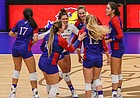 The Jayhawks celebrate a point during their four-set, season-ending victory over Texas Tech on Friday, Nov. 20, 2020 at Horejsi Family Volleyball Arena.