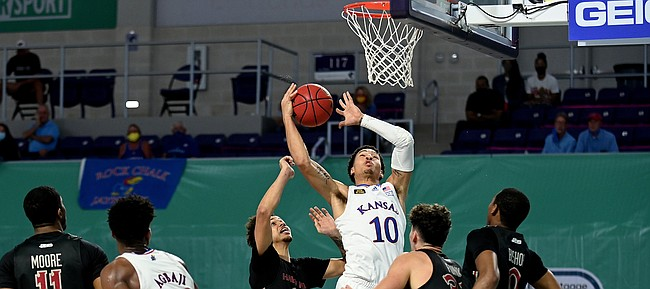 Kansas redshirt freshman Jalen Wilson goes up for a shot during a game against Saint Joseph's on Friday Nov. 27, 2020. The Jayhawks earned a 94-72 win over the Hawks in the Rocket Mortgage Fort Myers Tip-Off at the Suncoast Credit Union Arena in Fort Myers, Florida.