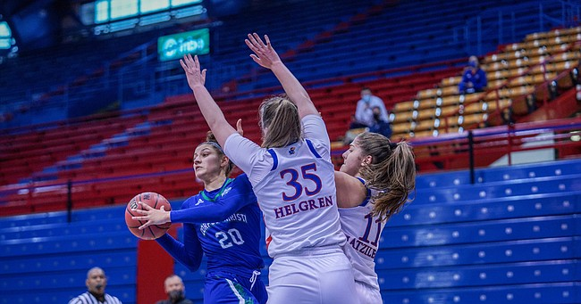 Jayhawks Bailey Helgren and Ioanna Chatzileonti smother a Corpus-Christi player during KU's 85-43 victory on Sunday, Nov. 29, 2020 at Allen Fieldhouse.