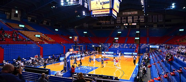 The Jayhawks run down court against Washburn during the first half on Thursday, Dec. 3, 2020 at Allen Fieldhouse.
