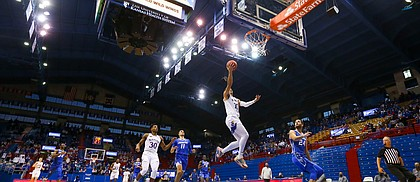 Kansas forward Jalen Wilson (10) cruises in for a bucket on a fast break during the second half on Tuesday, Dec. 8, 2020 at Allen Fieldhouse.