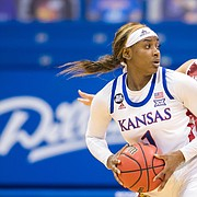 Kansas forward Tina Stephens looks to make a play with the ball during the Jayhawks' 74-64 win over Oklahoma during the Big 12 opener for both teams on Thursday, Dec. 10, 2020 at Allen Fieldhouse.
