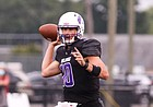 A Class of 2021 Kansas football signee, quarterback Ben Easters makes a throw for Brownsburg High (Ind.) during his senior season.