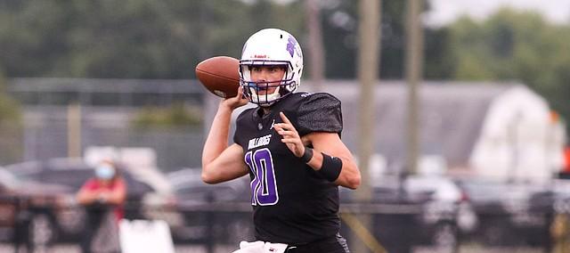A Class of 2021 Kansas football signee, quarterback Ben Easters makes a throw for Brownsburg High (Ind.) during his senior season.