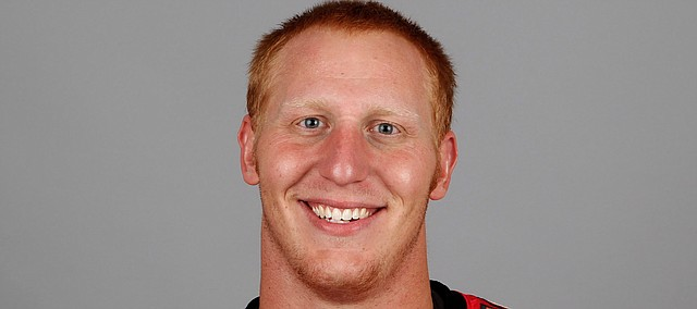 Lee Grimes was named the Kansas football offensive line coach on Dec. 29, 2020. This is a 2010 file photo of Lee Grimes, when he played for the Tampa Bay Buccaneers in the NFL. (AP Photo)