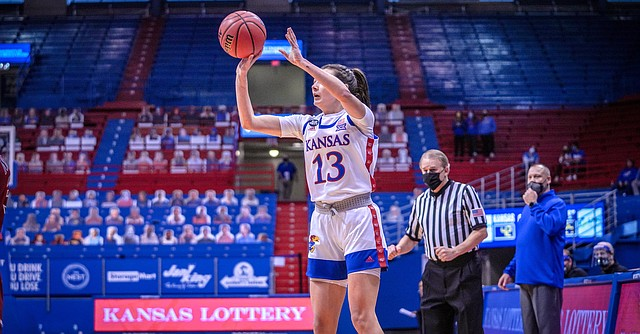 Kansas sophomore guard Holly Kersgieter fires up a shot during a game against New Mexico State Tuesday afternoon in Allen Fieldhouse on Dec. 29, 2020. Photo courtesy of Damon Young