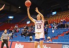 Kansas sophomore Holly Kersgieter fires a shot during a game Northern Colorado Wednesday night at Allen Fieldhouse. The KU women's basketball team secured a 78-62 win over Northern Colorado in the season opener on Nov. 25, 2020.