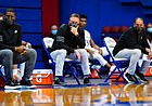 The Kansas bench sits quietly during the remaining minutes of their 84-59 loss to Texas, Saturday, Jan. 2, 2021 at Allen Fieldhouse.