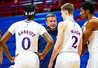 Kansas head coach Bill Self talks to his players with the game close and little time remaining in regulation on Saturday, Jan. 9, 2021 at Allen Fieldhouse.